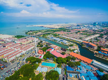 Aerial View of Melaka City. Melacca City facing Melacca Strait. Taming Sari Tower Royalty Free Stock Images