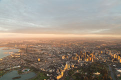Aerial view of Melbourne, Australia at dawn Royalty Free Stock Images