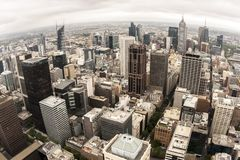 Aerial view of Melbourne, Australia taken from the Rialto tower. Fisheye image stock photo