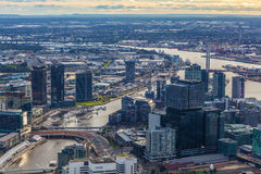 Aerial view of Melbourne CBD and Bolte Bridge at sunset Royalty Free Stock Photo