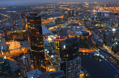 Aerial View of  Melbourne CBD City At Night Australia. Aerial View of Melbourne City Central Business District Melbourne Australia At Night Stock Image