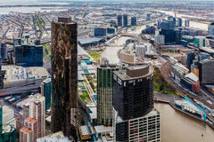 Aerial view of Melbourne CBD during daytime Stock Photography