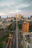 Aerial view of Melbourne CBD from the east Stock Image