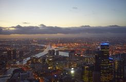 Aerial view of Melbourne at evening Royalty Free Stock Photos