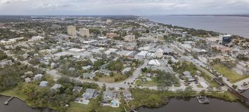 An Aerial View of Melbourne, Florida. The downtown area of Melbourne, Fl on the Indian River Lagoon and Atlantic Ocean royalty free stock photo