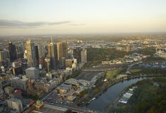 Aerial view of Melbourne Stock Photo