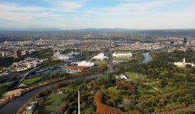 Aerial View of Melbourne's Eastern Suburbs including MCG. Stock Photos