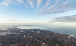 Aerial view of Melbourne's southern beachside suburbs Royalty Free Stock Image