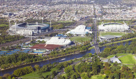 Aerial View of Melbourne's world-class sports and Royalty Free Stock Photos
