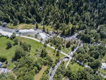 Aerial view of the Mello Valley, a valley surrounded by granite mountains and forest trees, renamed the little italian Yosemite Royalty Free Stock Photography