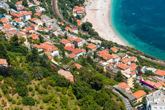 Aerial view of Menton town Stock Images