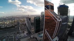 Aerial view of Mercury City Tower. Moscow city stock video footage