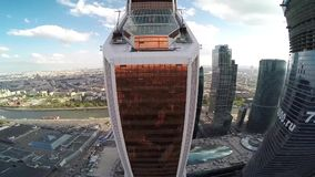 Aerial view of Mercury City Tower and panorama of Moscow city stock video