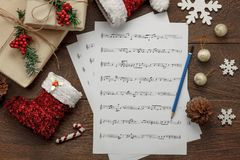 Aerial view of Merry Christmas and music background concept. Stock Photo