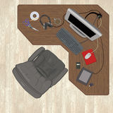 Aerial view of a messy desk. All items are grouped separately on the same layer to easily remove or arrange. The wood flooring and desk are both on their own royalty free illustration