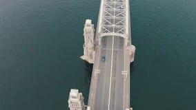 Aerial View Metal Bridge over River stock footage
