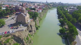 Aerial view of Metekhi church in Tbilisi stock footage