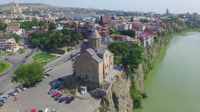Aerial view of Metekhi church in Tbilisi stock video footage