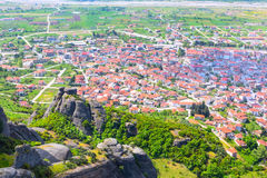 Aerial view of Meteora cliff and Kalambaka town, Greece Stock Photography