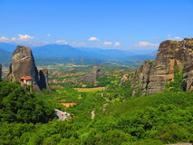 Aerial view of Meteora Greece. Aerial view of rocky cliffs and monasteries in Meteora Greece Stock Images