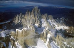 Aerial view at 3400 meters of Mount Fitzroy, Cerro Torre Range and Andes Mountains, Patagonia, Argentina Royalty Free Stock Image