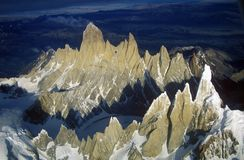 Aerial view at 3400 meters of Mount Fitzroy, Cerro Torre Range and Andes Mountains, Patagonia, Argentina Royalty Free Stock Photography