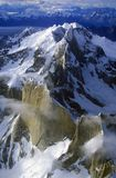 Aerial view at 3400 meters of Mount Fitzroy, Cerro Torre Range and Andes Mountains, Patagonia, Argentina Royalty Free Stock Photos