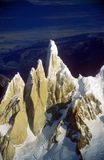 Aerial view at 3400 meters of Mount Fitzroy, Cerro Torre Range and Andes Mountains, Patagonia, Argentina Royalty Free Stock Photo