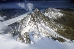Aerial view at 3400 meters of Mount Fitzroy, Cerro Torre Range and Andes Mountains, Patagonia, Argentina Stock Photography