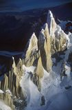 Aerial view at 3400 meters of Mount Fitzroy, Cerro Torre Range and Andes Mountains, Patagonia, Argentina Stock Images