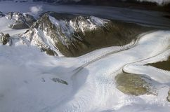 Aerial view at 3400 meters of Mount Fitzroy, Cerro Torre Range and Andes Mountains, Patagonia, Argentina Stock Image
