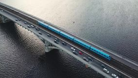 Aerial view of the metro bridge in Kiev, Ukraine. Lively traffic, Accelerated. Aerial view of the metro bridge in Kiev, Ukraine. Busy the traffic, fast speed stock video