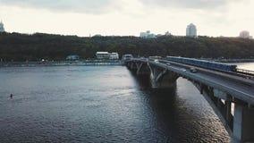 Aerial view of the metro bridge in Kiev, Ukraine. Lively traffic. Aerial view of the metro bridge in Kiev, Ukraine. Busy the traffic stock footage