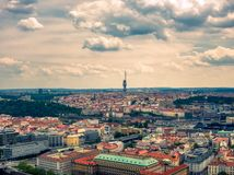 Aerial view of tv tower in prague from vltava river stock photos