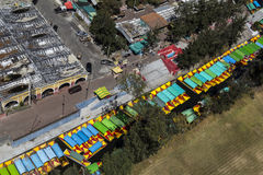 Aerial view of mexican trajineras in xochimilco Royalty Free Stock Photography
