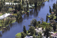 Aerial view of mexican Xochimilco channel Royalty Free Stock Images
