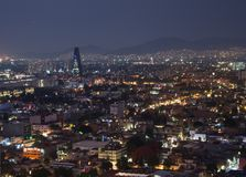 Aerial view of mexico city downtown skyscrappers at sunset time before night. stock photo