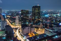 Aerial view of mexico city downtown skyscrappers at sunset time before night. royalty free stock photography