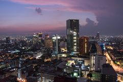 Aerial view of mexico city downtown skyscrappers at sunset time before night. stock photos