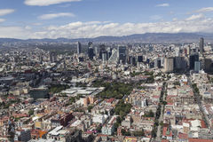Aerial view of mexico city financial district reforma. Ciudadela park and market in front and pink zone and reforma area Stock Photo