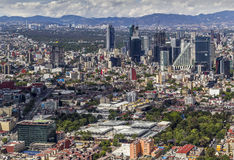 Aerial view of mexico city financial district reforma. Ciudadela park and market in front and pink zone and reforma area back, left chapultepec avenue Stock Photos