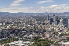 Aerial view of mexico city financial district reforma. Ciudadela park and market in front, zona rosa and reforma area right Stock Image