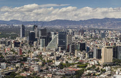 Aerial view of mexico city financial district reforma. Skyline of important high buildings beside reforma avenue an polanco in the right back Stock Images