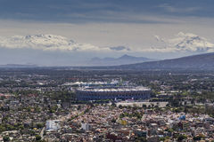 Aerial view of mexico city football stadium azteca and volcanoes Royalty Free Stock Photography