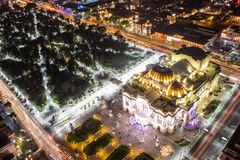 Aerial view of Mexico City, light trails and Bellas Artes.  Royalty Free Stock Image