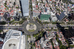 Aerial view of mexico city reforma street. ángel de la independencia traffic circle in financial district royalty free stock photo
