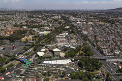 Aerial view of mexico city. Viaducto and avenida tlalpan in the south of the metropolis Stock Images