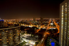 Aerial view of Miami Beach at night Stock Image