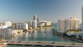Aerial view of Miami Beach and Venetian Way at sunset.  Royalty Free Stock Photo