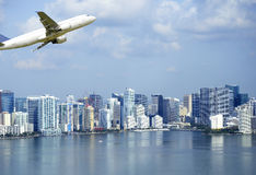 Airplane flying over Miami skyscrapers. Aerial view of Miami skyscrapers, Florida Royalty Free Stock Image